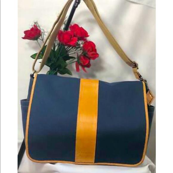 COACH Canvas Leather Trimmed Messenger Bag